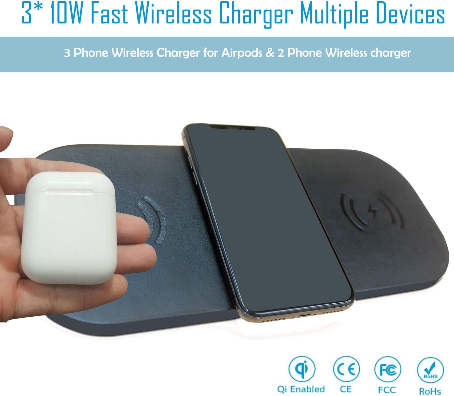 Qi Fast Wireless Charging Pad for iPhone 11//11 Pro//11 Pro Max//XS Max Samsung Galaxy Note 10//Note 10+//S10 New AirPods 10W Triple Wireless Charger Station 36W Adapter Included
