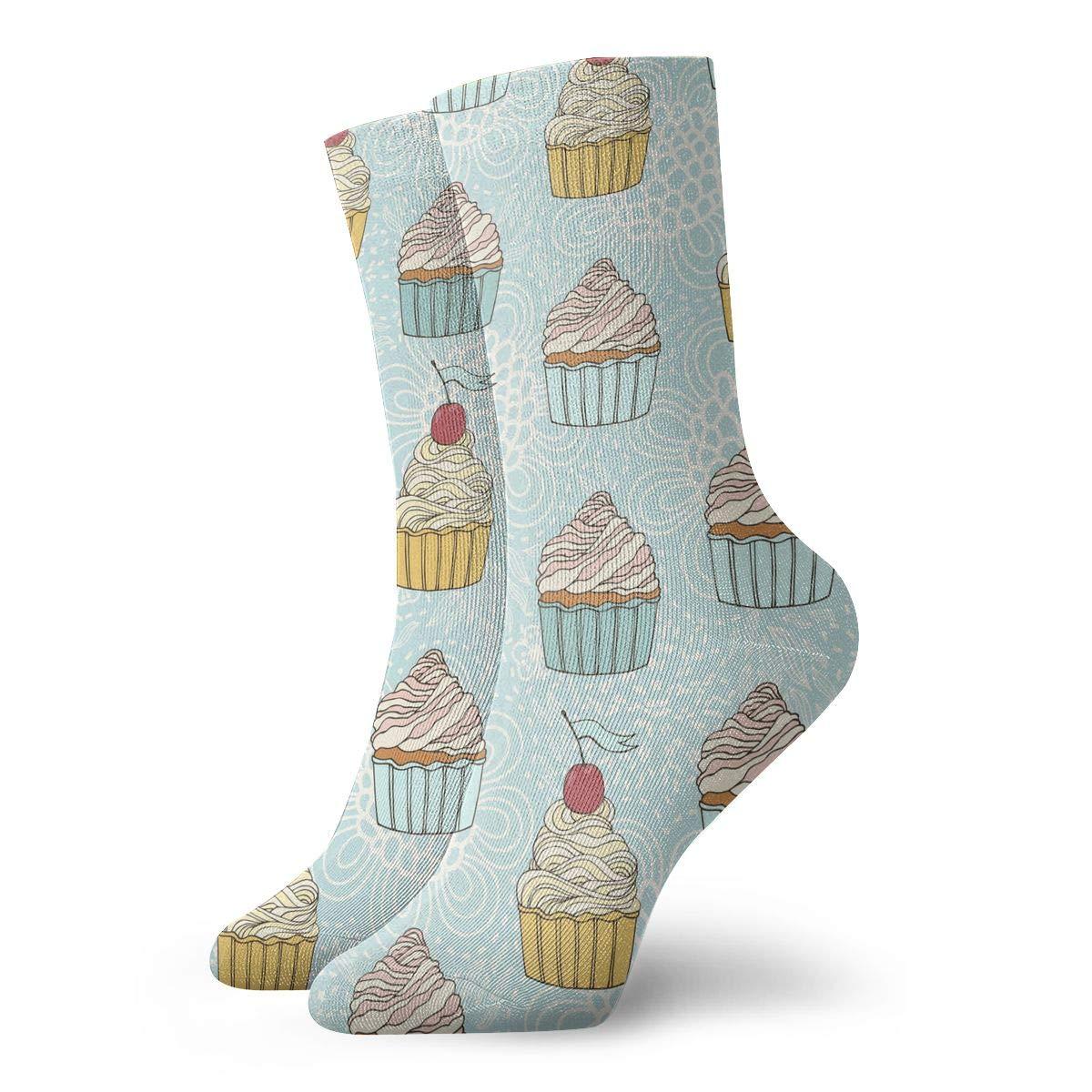 Delicious Aqua Flower Cherry Cake Fashion Dress Socks Short Socks Leisure Travel 11.8 Inch