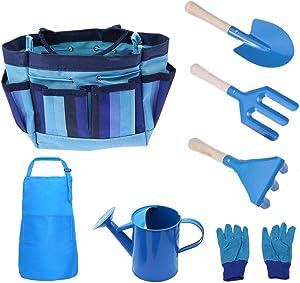 FUQUN Gardening Tool Set for Kids Children, 7 Piece Garden Tool Set for Kids with Watering Can, Gardening Gloves, Shovel, Rake, Trowel and Kids Smock, All in One Gardening Tote
