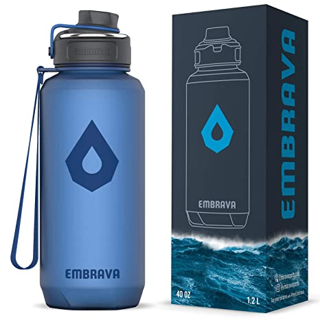b707341531 Embrava 40oz Water Bottle - Large with Travel Carry Ring - Wide Leak Proof  Drink Spout | Heavy-Duty, BPA & BPS Free Tritan Plastic | Sports, Camping,  Gym, ...