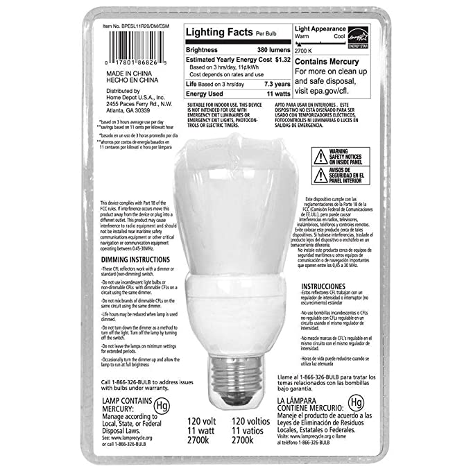EcoSmart 50W Equivalent 2700K R20 Dimmable CFL Light Bulb, Soft White - Compact Fluorescent Bulbs - Amazon.com