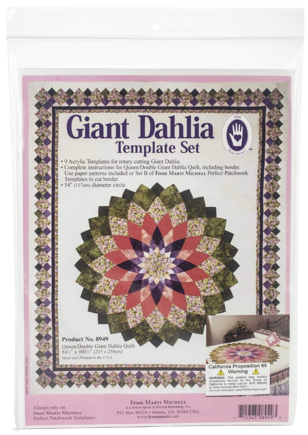 Marti Michell 8949M Giant Dahlia Template Set-9 Pieces by Marti Michell