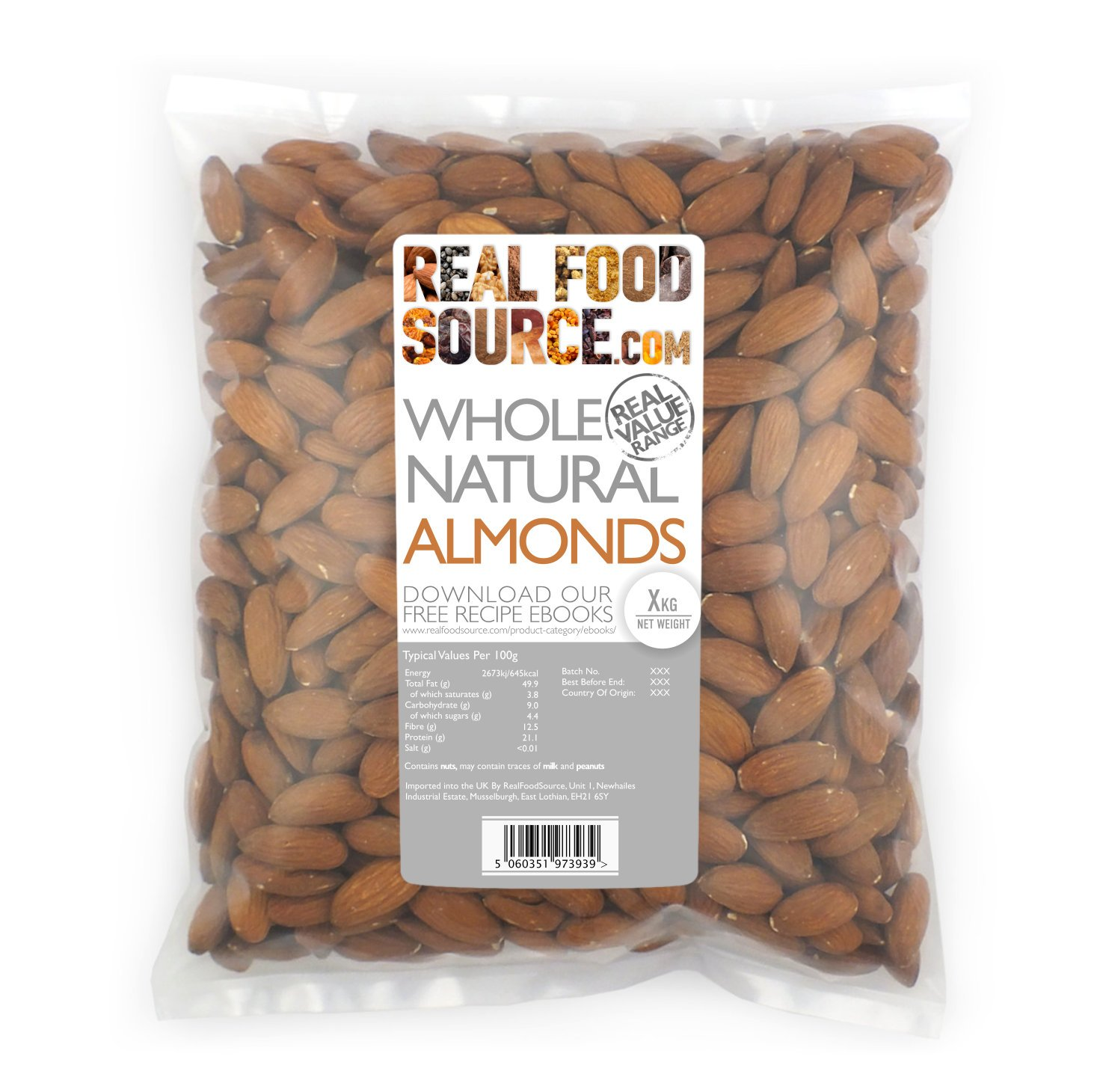 038fbc76 RealFoodSource Almonds, Whole & Natural (1kg): Amazon.co.uk: Grocery