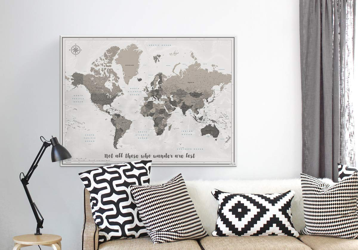 Push Pin Map Canvas - Add Your Own Quote - Pin Adventure Map