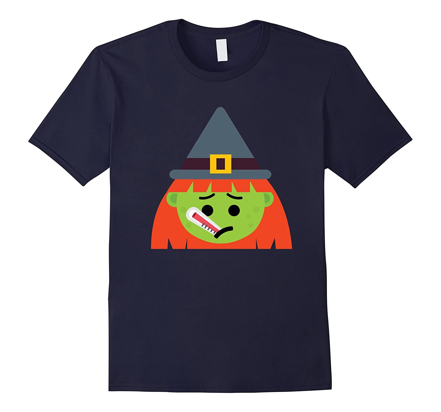 Witch Emoji T-Shirt Fever Thermometer Halloween Costume-FL