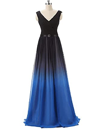 af508250c206 ANGELA Women's Ombre Bridesmaid Dresses Gradient Long Prom Evening Gowns  Formal BlackBlue 2