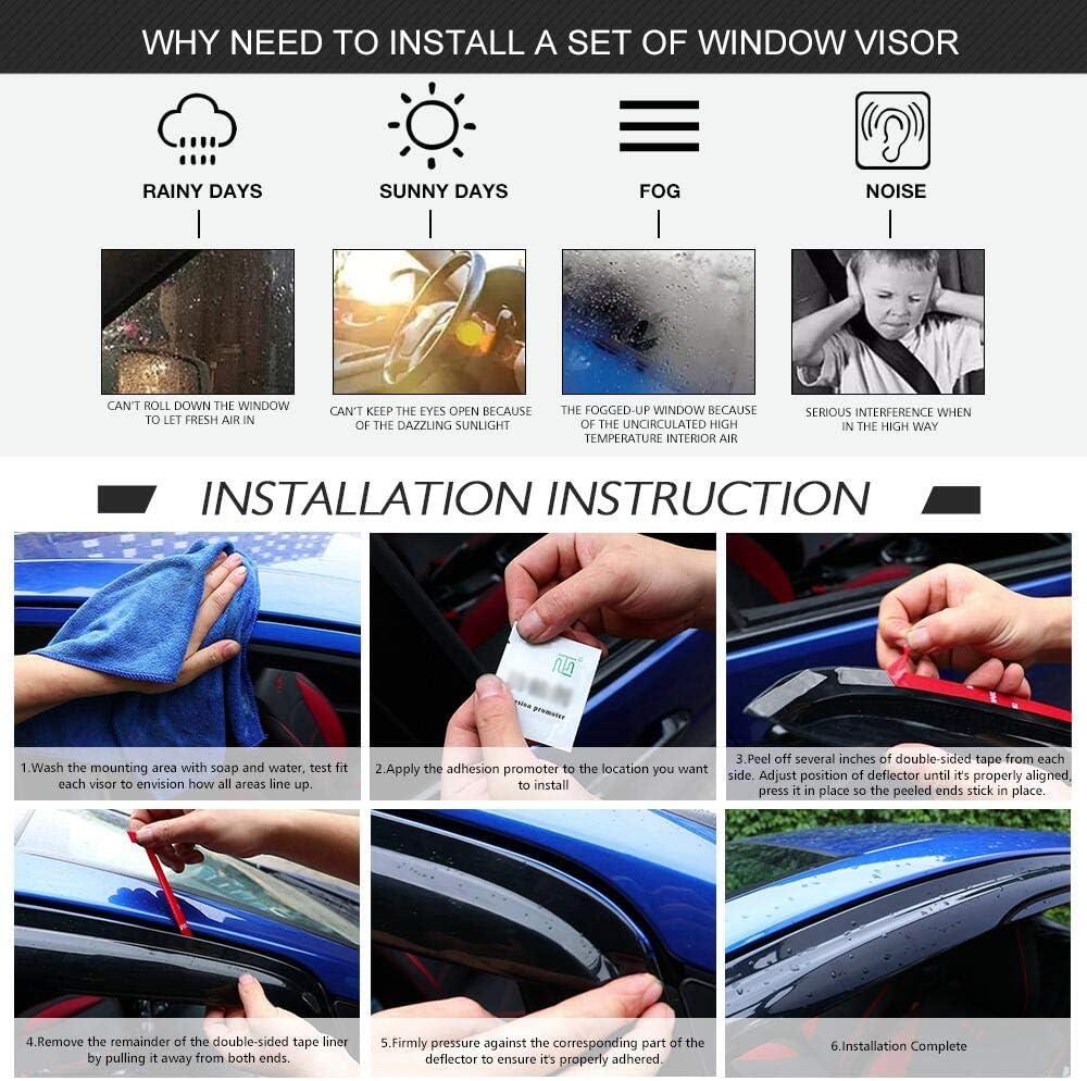 2013 2014 2015 Acrylic Smoke Tinted /& Semi-transparent Sun Rain Shade Guard Wind Vent Air Deflector by IKON MOTORSPORTS Window Visor Compatible With 2012-2016 Honda CRV CR-V