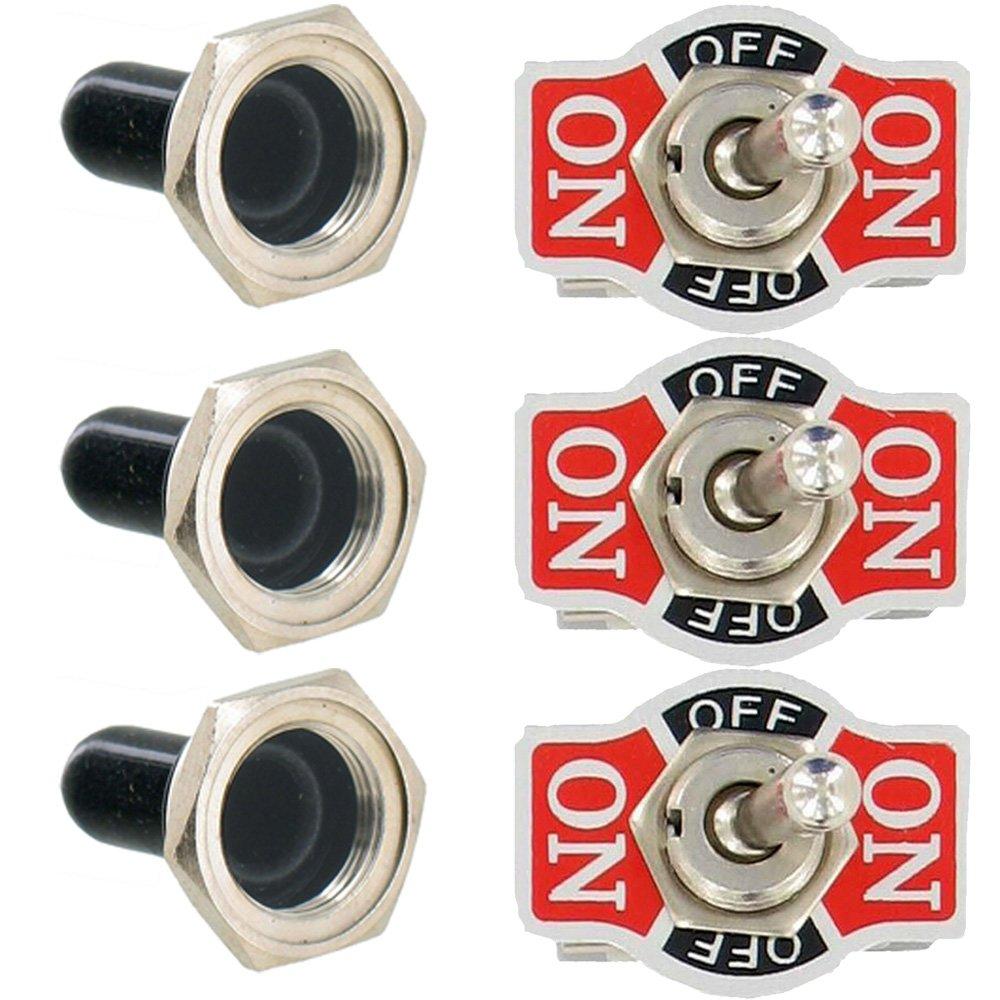 Etopars™ 3 X Heavy Duty 20A 125V 15A 250V DPDT 6 Terminal Pin ON/OFF/ON Rocker Toggle Switch Flick Metal Waterproof Cap Knob