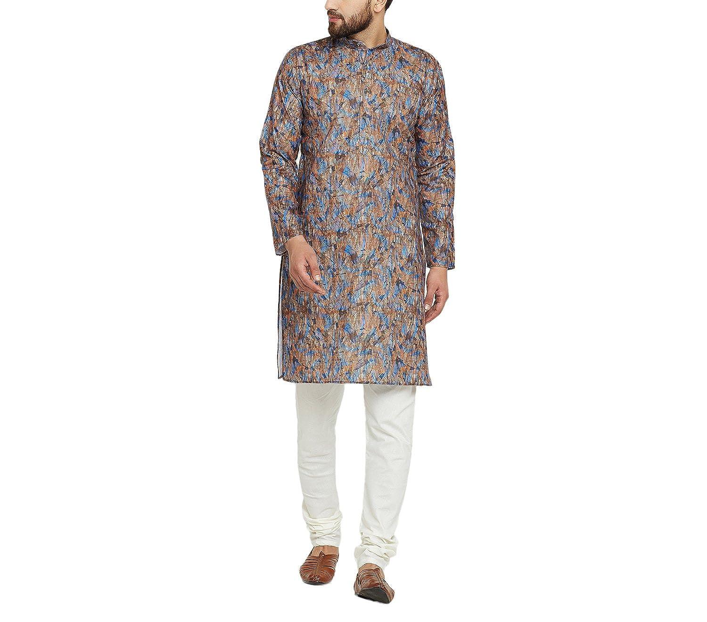 Indian-Traditional-Kurta-Pajama-Set-Shirt-Printed-Men-Kurta-Ethnic-Wear-XS-5XL thumbnail 8