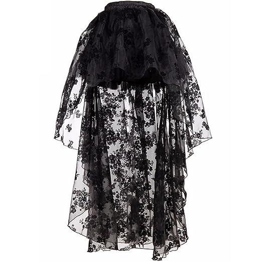 Women Preto Floral Fluffy Tulle Babados Chiffon Saias Combinando Trajes Burlesque Skirt Black