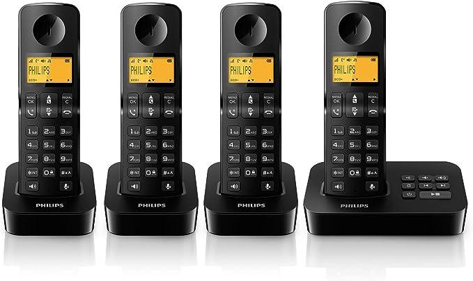 Philips CD1964B/38 - Pack de 4 teléfonos fijos inalámbricos (DECT, Memoria para 50 entradas), Negro (Importado): Amazon.es: Electrónica