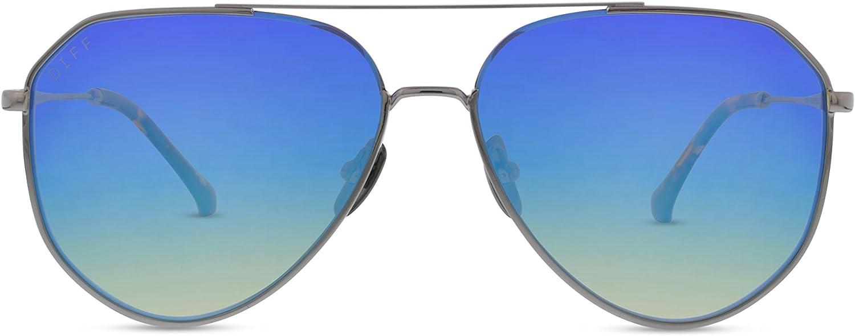 DIFF Eyewear - Dash - Designer Aviator Sunglasses for Men & Women - 100% UVA/UVB [Polarized]