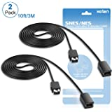 SNES Classic Controller Extension Cable 3M/10 ft (2-PACK), Keten Super NES Classic Extension Power Cord for Super Nintendo Classic Edition Controller-2017 and Nintendo NES Classic Mini- 2016