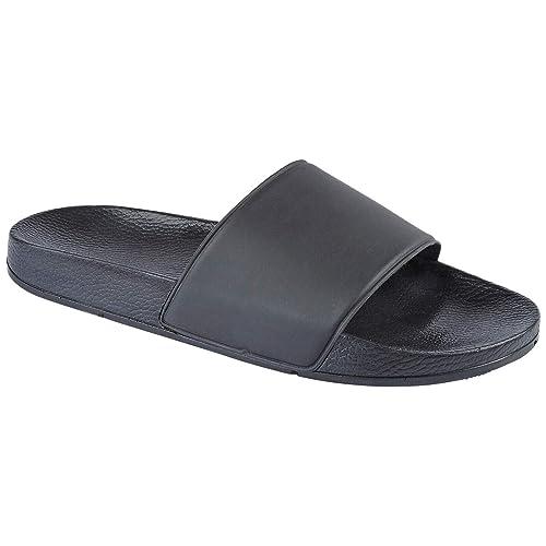 Mens Brown Leather Slippers Walking Sliders Beach Sandal Size UK 6 7 8 9 10 11