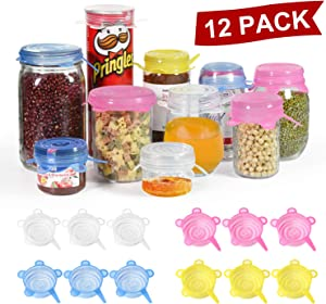 Longzon Silicone Stretch Lids 12 Pack 2.6'' Small, Reusable Food Storage Covers for Cups Small Bowls Cans Jars Fruits Vegetables, Canning Jars lids Wide Mouth Mason Jar Lids (Can Stretch to 3.5 Inch