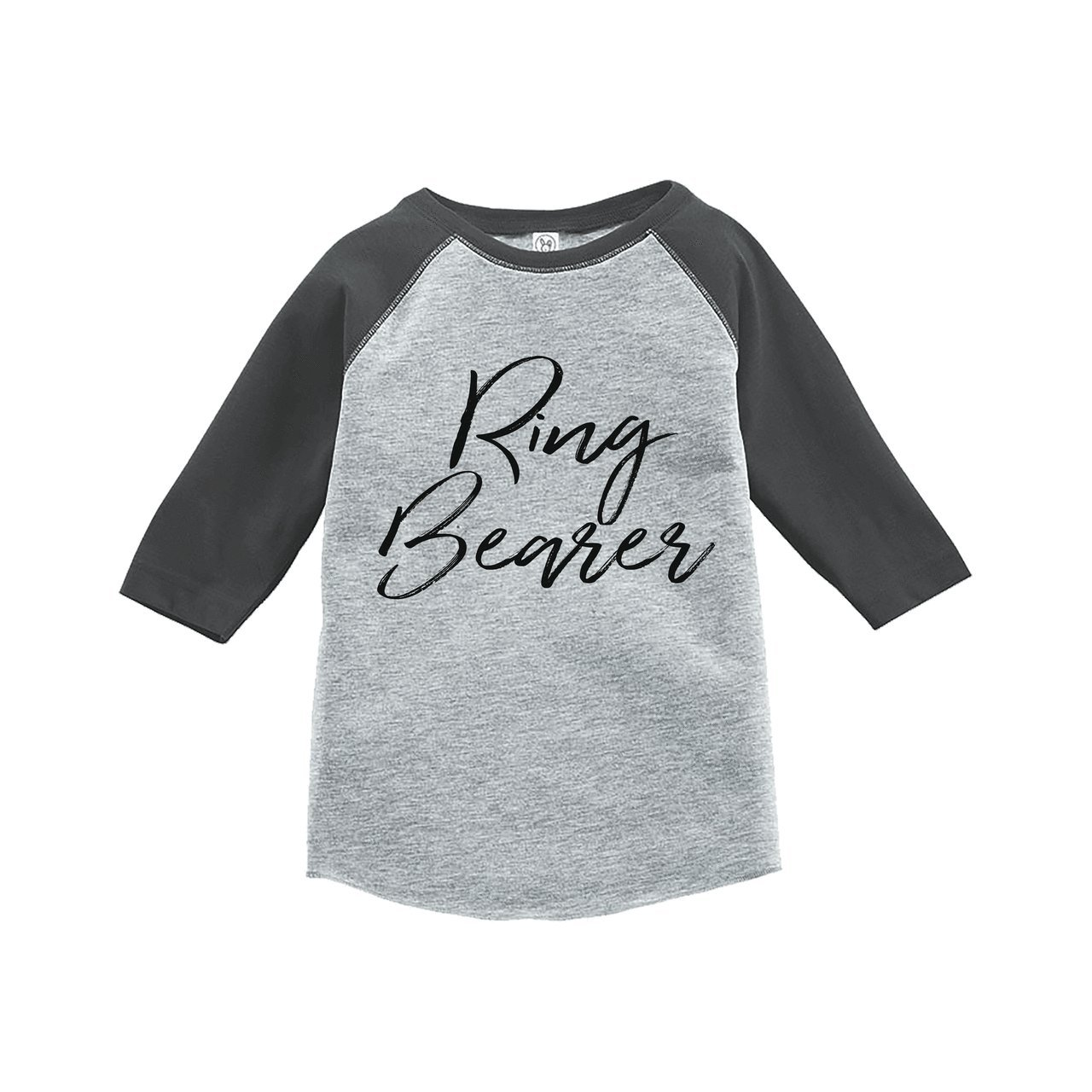 7 ate 9 Apparel Youth Boy's Ring Bearer Wedding Grey Raglan Large