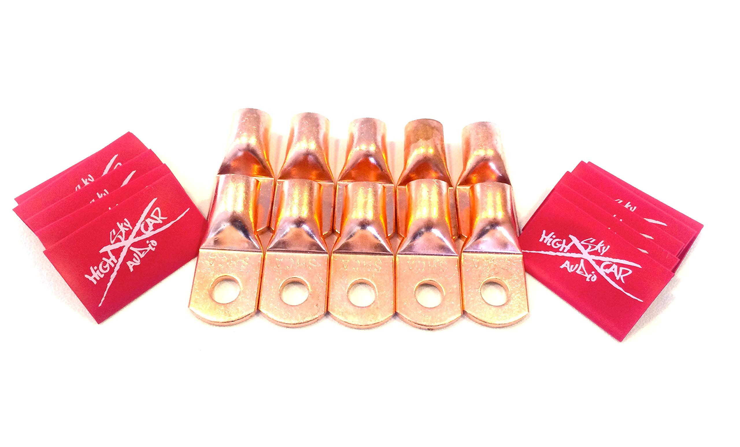 Sky High Car Audio (10) 1/0 Gauge Copper Ring Terminals 3/8'' RED Heat Shrink Tubing LUGS by Sky High Car Audio