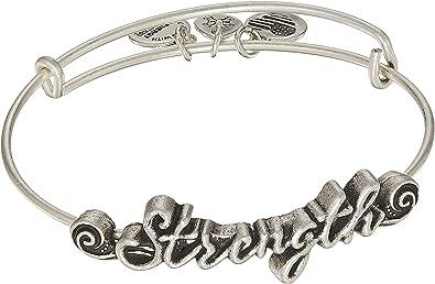 452861ec1de571 Amazon.com: Alex and Ani Women's Spiritual Armor Strength Bangle Rafaelian  Silver One Size: Jewelry