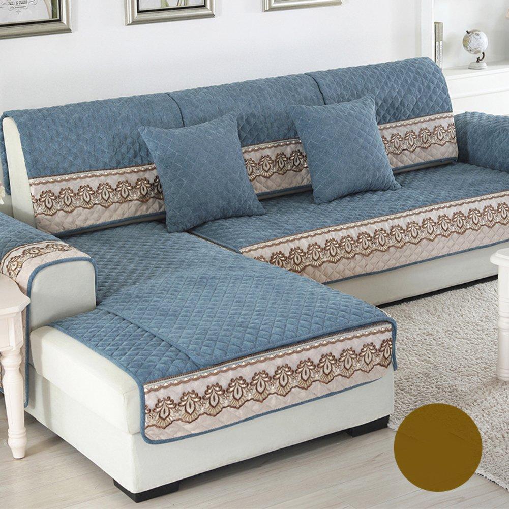 DW& HX Quattro stagioni universale Protettore di mobili di fodera per divano per cane, 3 sedi Tinta unita Addensare Copridivano Anti-scivolo Stile europeo -B federa 18x18inch