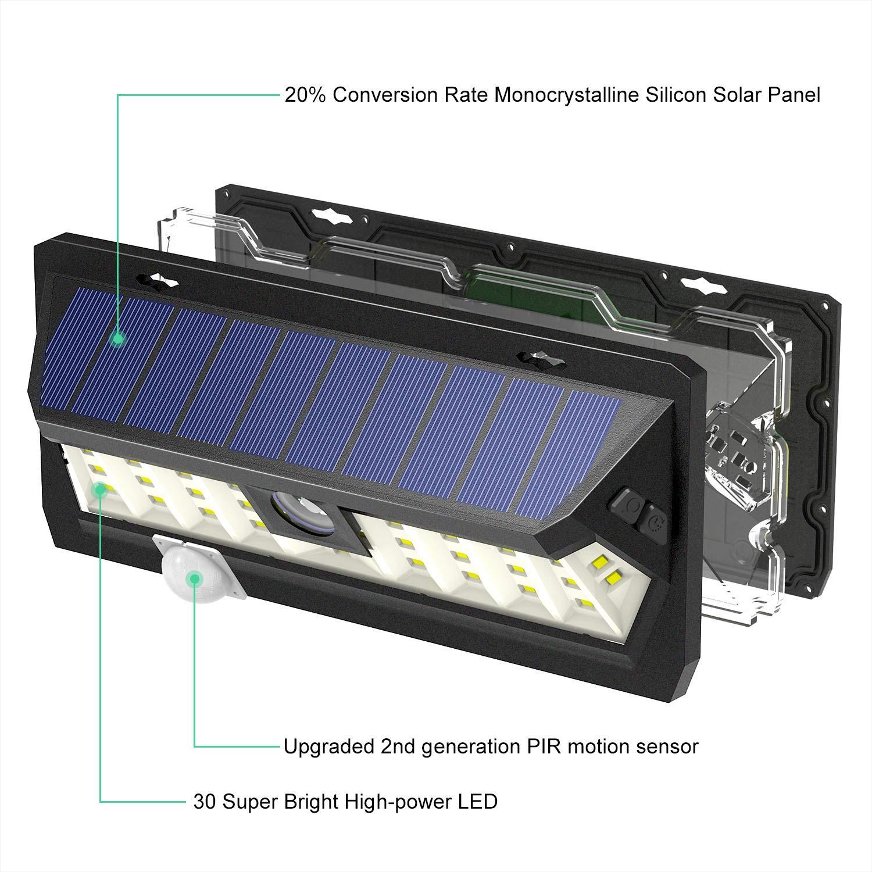 SUNTOLL Luz Solar, 30 LED Lámpara Solar de Exterior con Sensor de Movimiento, Lluminación para Exteriores para Jardín, Casa, Camino, Entrada, Patio, Garaje, ...