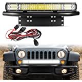 144W LED Light Bar and License Plate Mounting Bracket with Wiring Harness, 20 Inch Light Bar for Truck /Car /ATV /SUV/ 4X4 Tr