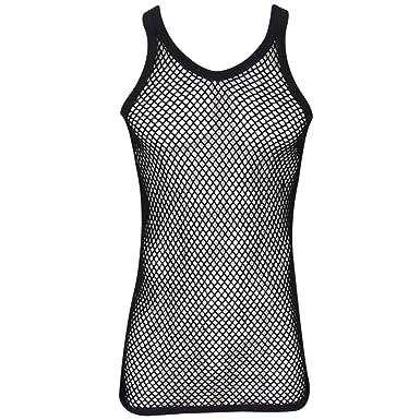 de94fe064cd5b Amazon.com  Mens String Mesh Vest Fitted 100% Cotton Gym Training ...