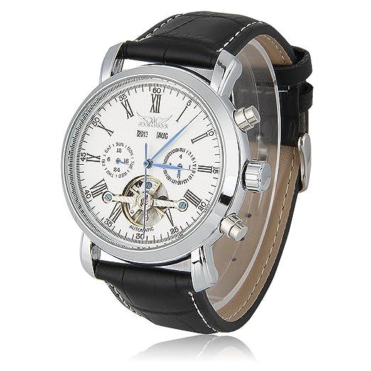 JARAGAR Relojes Mecánicos Automáticos De Hombre (Tourbillon Doble Calendario Reloj Pulsera, 122g, Plata