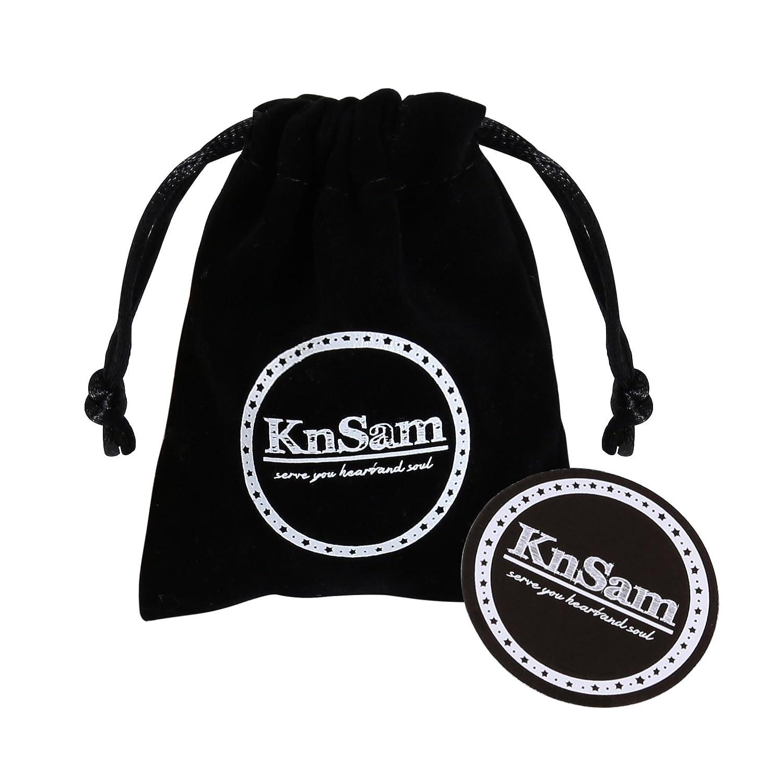 KnSam Bracelet for Men Women Stainless Steel Aquarius Engraved Black Wristband Adjustable KnSamXP139