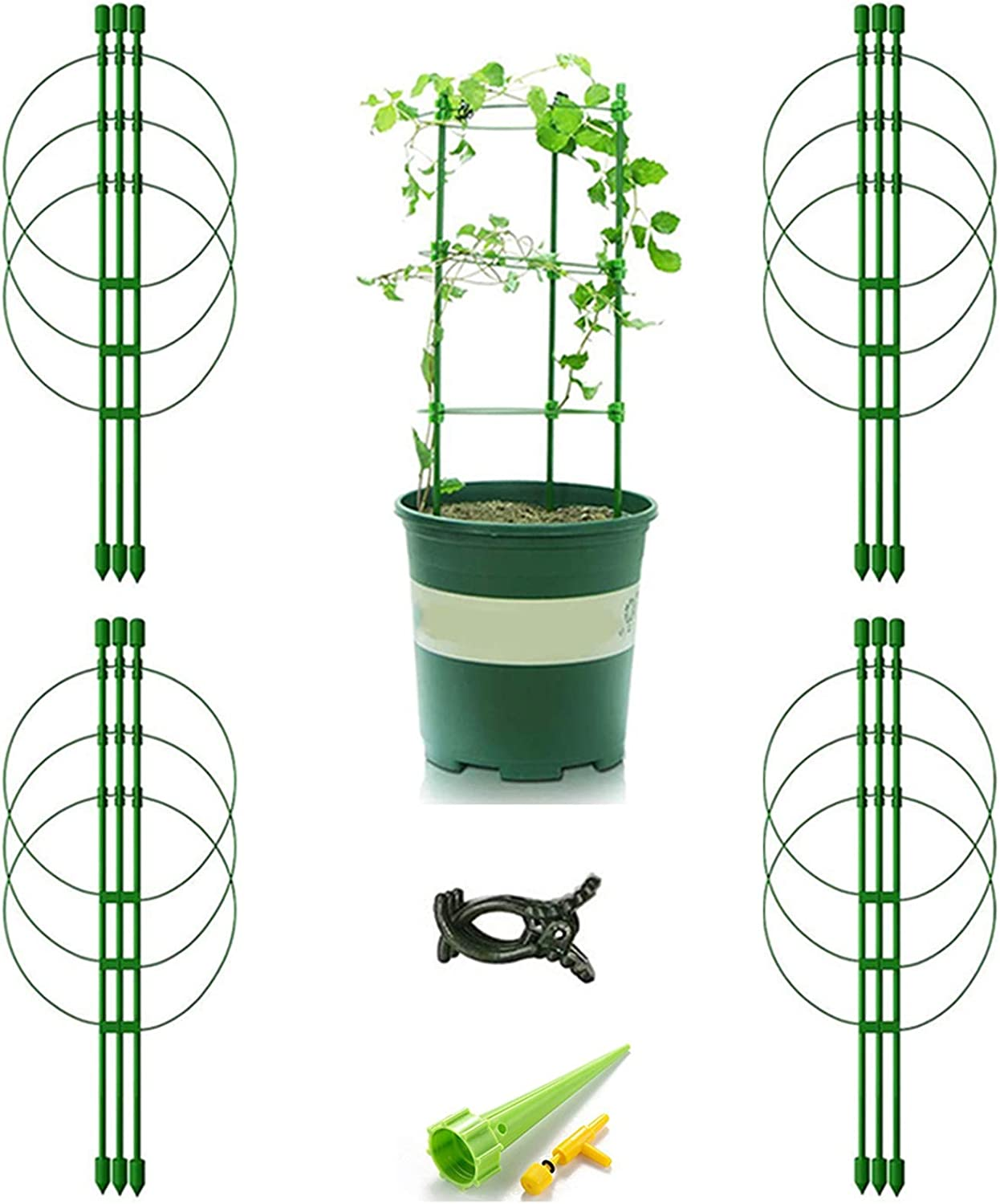 Vitog 4-Pack Tomato Cages for Garden 18 Inches Plant Support Trellis for Tomato Plants Climbing Plant Cage Stakes with 4 Self Watering Spikes and 20 Plant Clips(4 Packs)