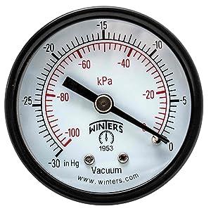 """Winters PEM Series Steel Dual Scale Economy Pressure Gauge, 30""""Hg Vacuum/kpa, 2"""" Dial Display, +/-3-2-3% Accuracy, 1/4"""" NPT Center Back Mount"""
