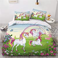 BOLAT - Funda de edredón con diseño de unicornio arcoíris y flores, con fundas de almohada a juego, para juegos de cama…