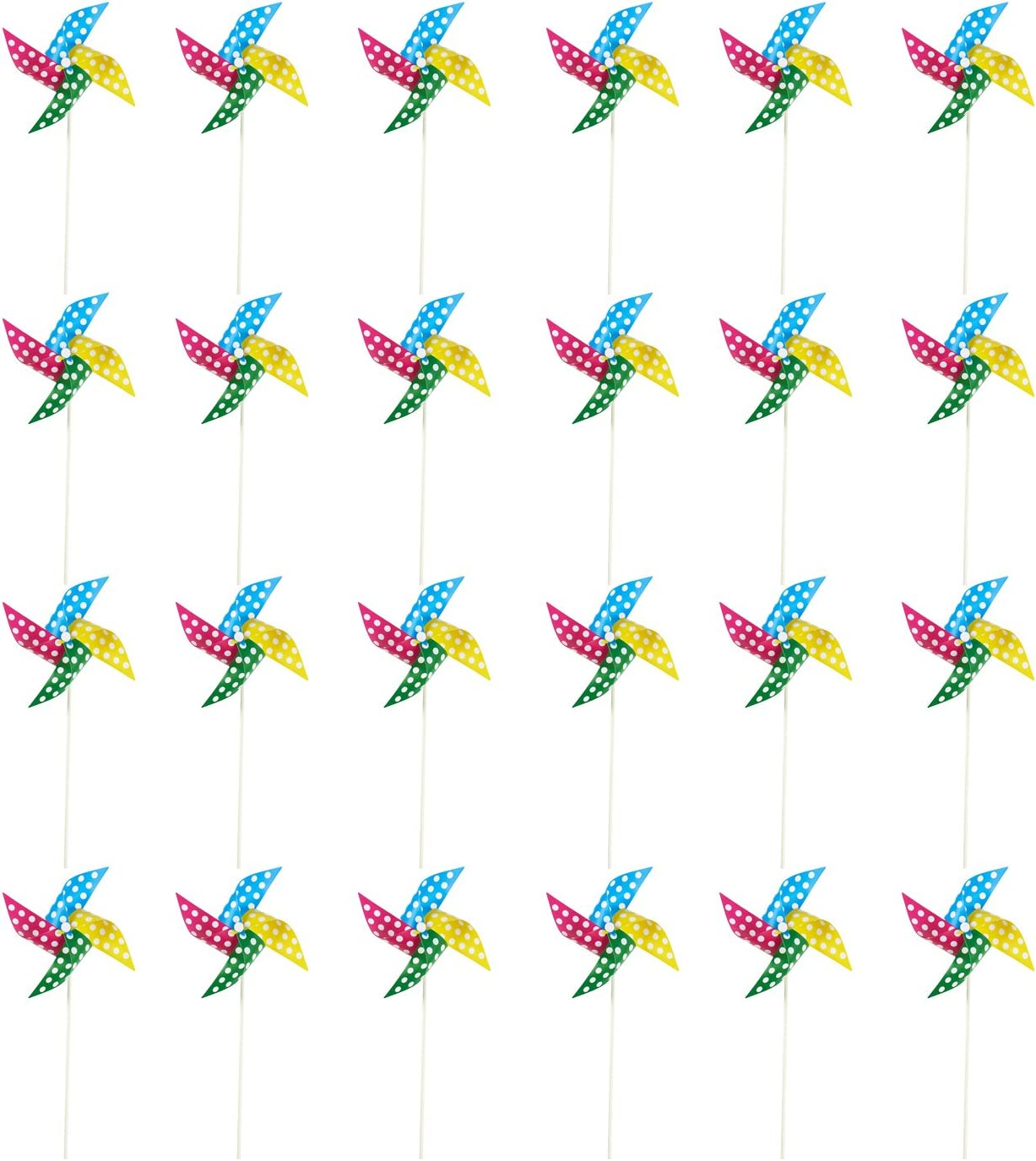 Pinwheels - Pack of 24, 15.5-Inch Polka Dot Pinwheels - Value Pack - Suitable as Kids Toy or Garden, Party, Outdoor, Yard, Decoration | Multicolored, 15.5 x 8 x 0.25 Inches