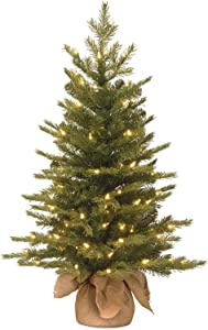 National Tree Company 'Feel Real' Pre-lit Artificial Mini Christmas Tree   Includes Small Lights and Cloth Bag Base   Nordic Spruce - 3 ft