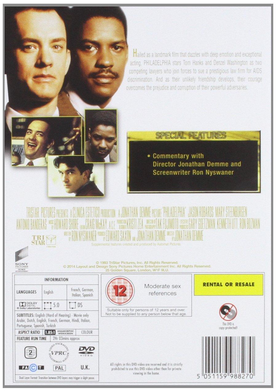 Philadelphia [Italia] [DVD]: Amazon.es: Tom Hanks, Denzel ...