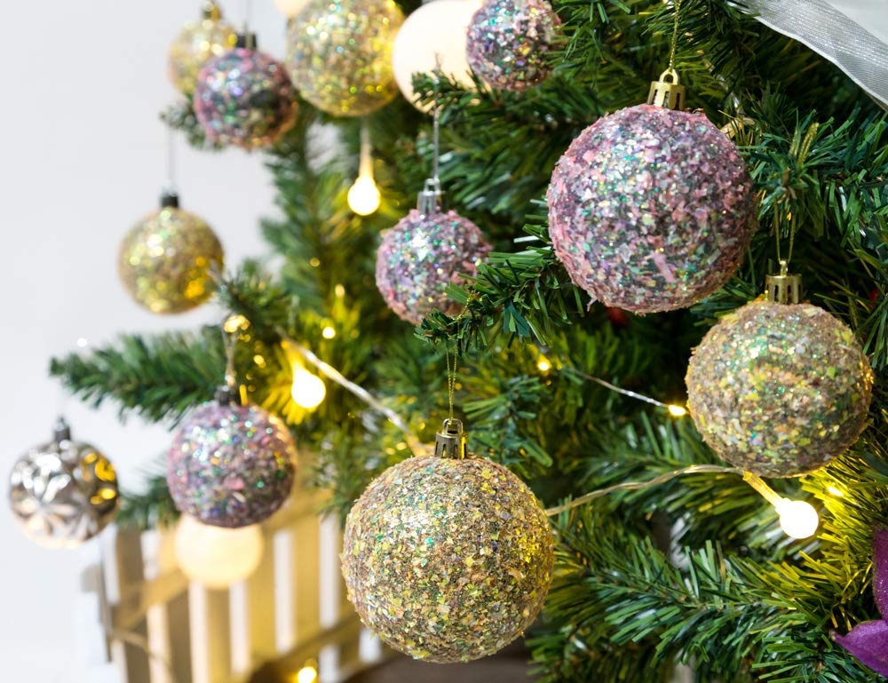 AMS 70mm//24ct Handmade Iridescent Christmas Balls Shatterproof Xmas Ornaments Glitter Special Colour Decoration 70mm, Blue Iridescence