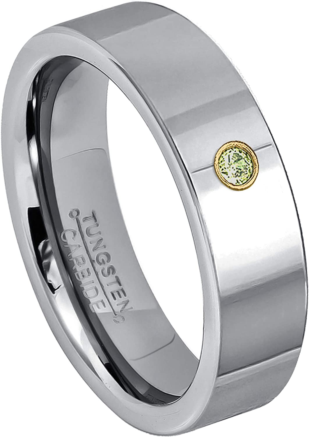 August Birthstone Ring 0.07ct Peridot Solitaire Ring Jewelry Avalanche 8mm Pipe Cut Black Tungsten Wedding Band