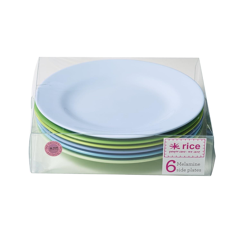 6Melamin Teller in sortiert blau und grün Farben von Rice DK