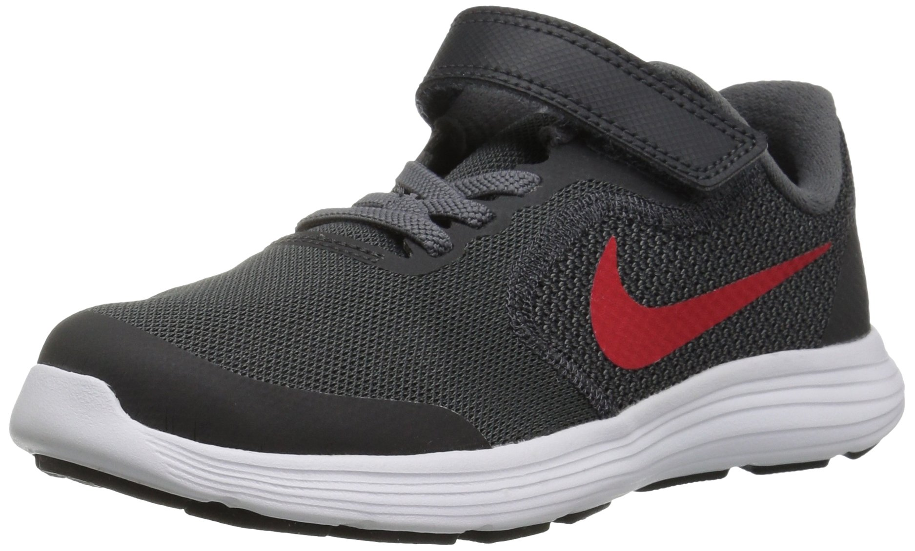 NIKE Kids' Revolution 3 (Psv) Running-Shoes, Black/University Red/Dark Grey, 1 M US Little Kid