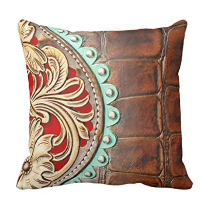 Amazon Emvency Throw Pillow Cover 40 Western Style Leather And Fascinating Western Style Decorative Pillows