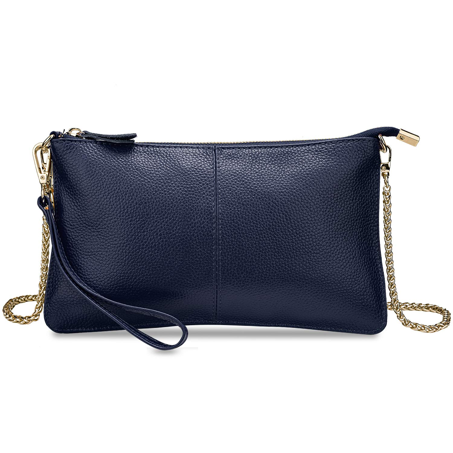 YALUXE Women's Real Leather Large Wristlet Phone Clutch Wallet with Shoulder Chain Blue by YALUXE