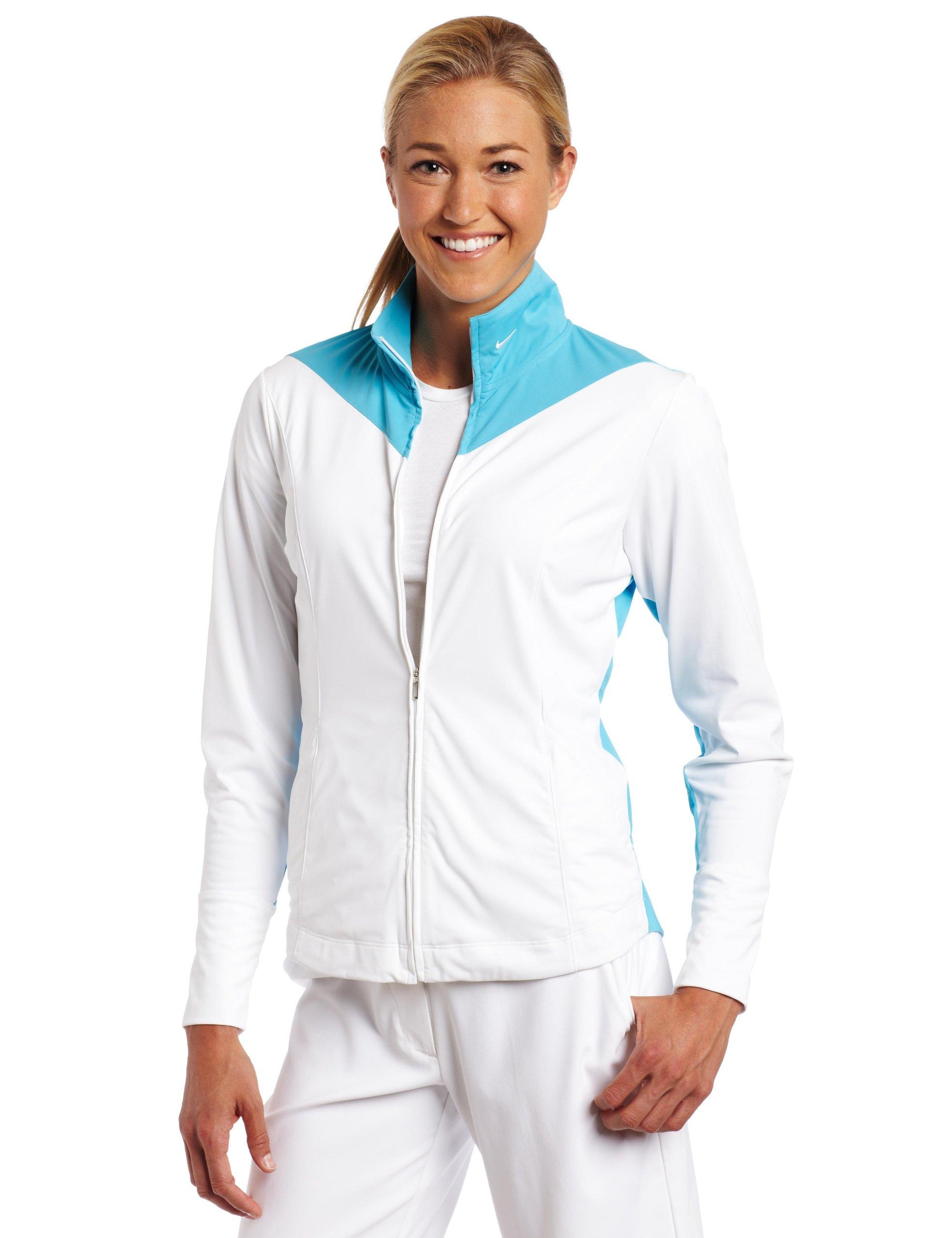 Nike Golf Women's Sport Tech Cover Up (White/Chlorine Blue, X-Small)