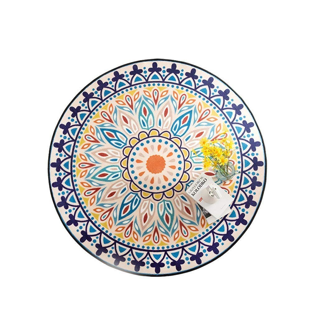 Wolala Home Super Soft Living Room Bedroom Home Carpets Geometry Flower Printed Round Area Rugs 5ft (5'x5', Blue) z09-3