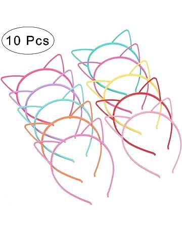 Frcolor 10 diademas con orejas de gato de plástico, disfraces o fiestas,