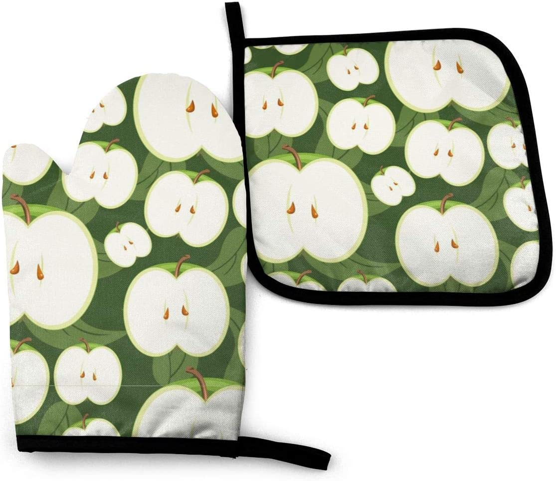 Green Apple Oven Mitts and Pot Holders Sets Heat Resistant Fruit Pattern Oven Gloves with Non-Slip Surface for Reusable for Baking BBQ Cooking