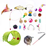 Cat Toys AKAT, 21 Kitten Toy Assortments, 2 Way Tunnel, Laser Red Light Pointer, Catnip Fish, Cat Feather Teaser - Wand…