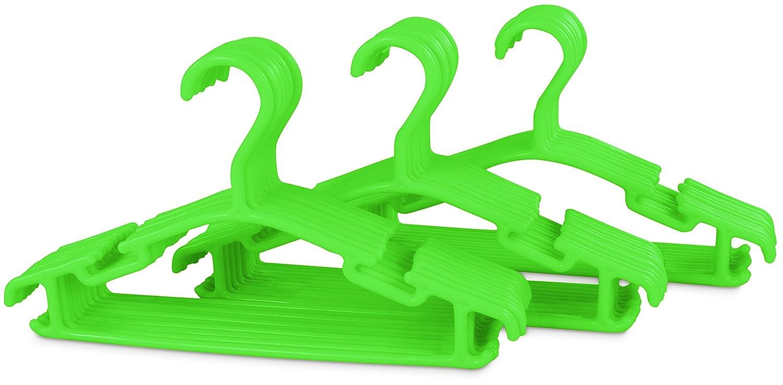 Kinder Kleiderbügel 30er Set - Kunststoff Grün - Kinderzimmer Bügel 30 Stück für Kindermode & Babykleidung - Grinscard