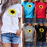 Plus Size Sunflower Printed T Shirts Womens