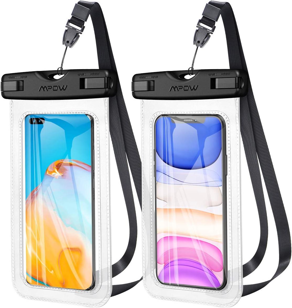 Mpow Funda Impermeable Universal-2 Unidades, Bolsa para Móvil Estanca a Prueba de Agua IPX8 para iPhone XS MAX/XR/XS/X/8/ 8plus/7 Samsung Galaxy s9+/S10Plus / S10 Huawei P30 Pro / P30, Pantalla táctil: Amazon.es: