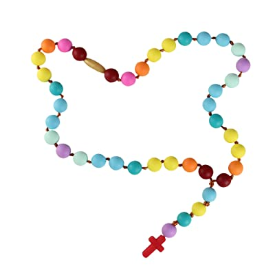"17.5"" Rainbow Colored Chewable Mommy and Me Rosary Blessing Beads Necklace : Baby"