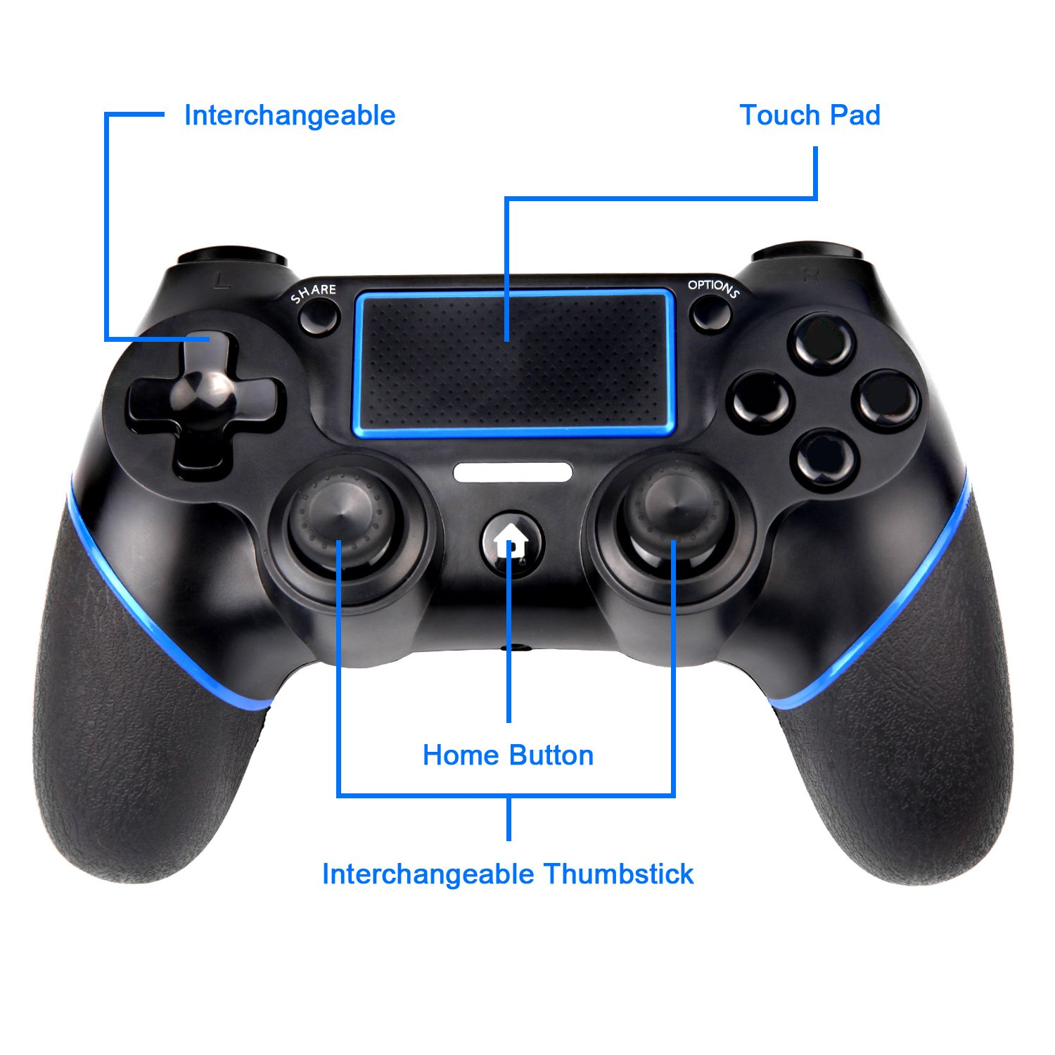 Sades C200 PS4 Controller Wireless Controller Gamepad with Dual Vibration  and 3 5mm Jack for Playstation 4